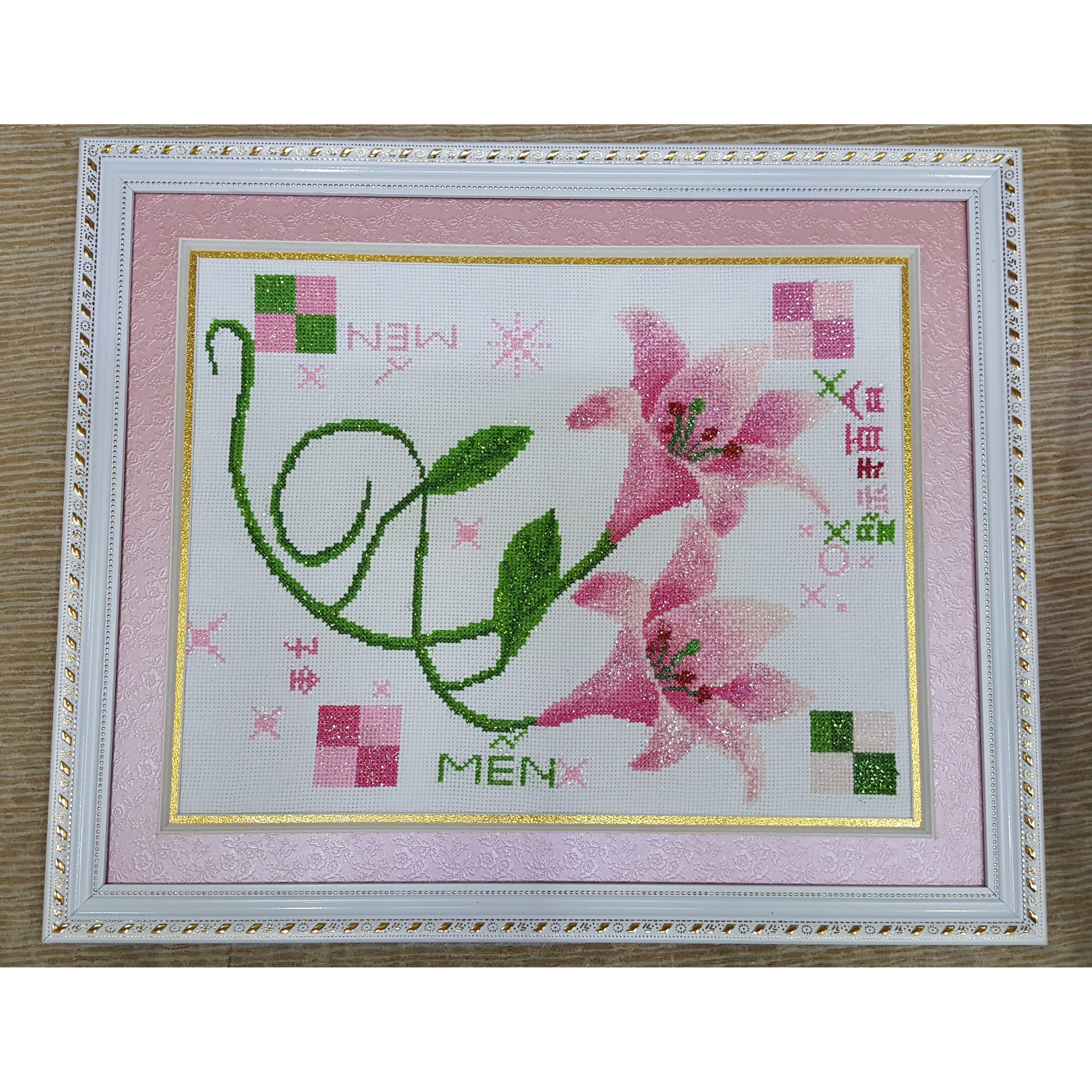 Hoa Ly-Thêu Chữ Thập-Thành Phẩm