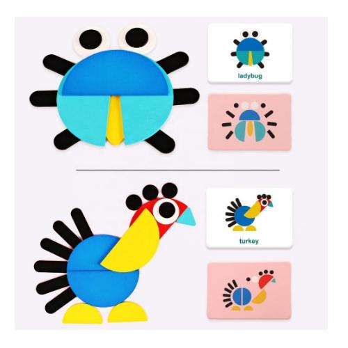 Bộ xếp hình 3D bằng gỗ hình các con vật vui nhộn giúp phát triển trí tuệ, trí tưởng tượng của bé yêu