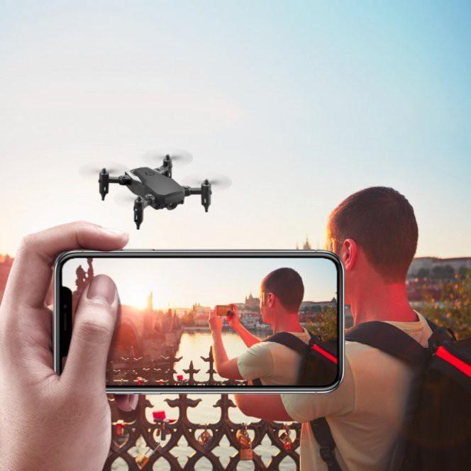 Flycam mini xếp gọn bỏ túi chụp ảnh 4K kết nối smartphone LF606 Model2021 (Tặng thêm 1 pin + hộp) - hàng cao cấp