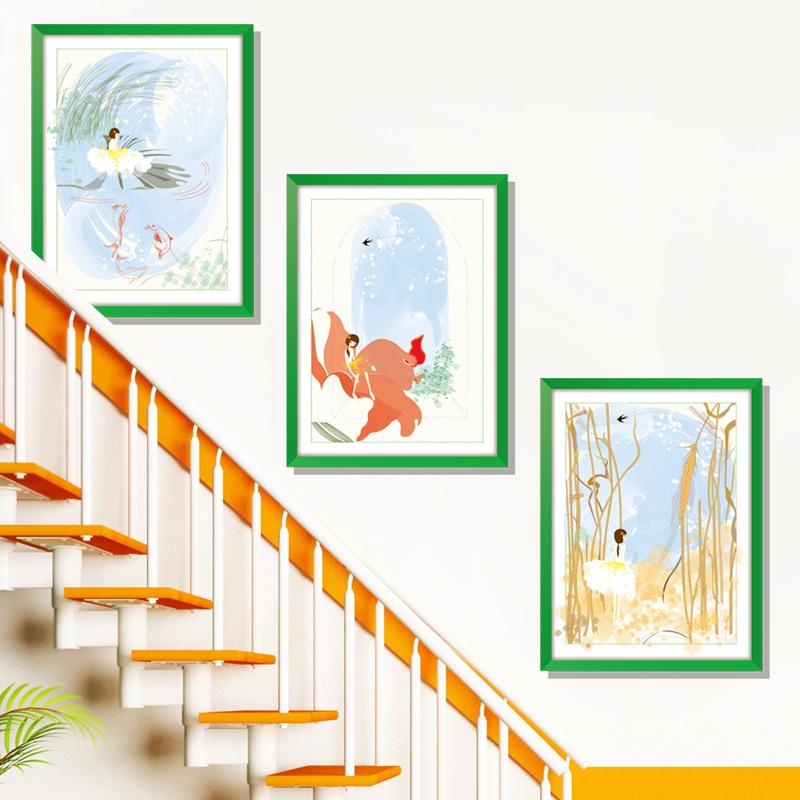 Decal dán tường khung tranh cô gái bé nhỏ ZOOYOO XL8319