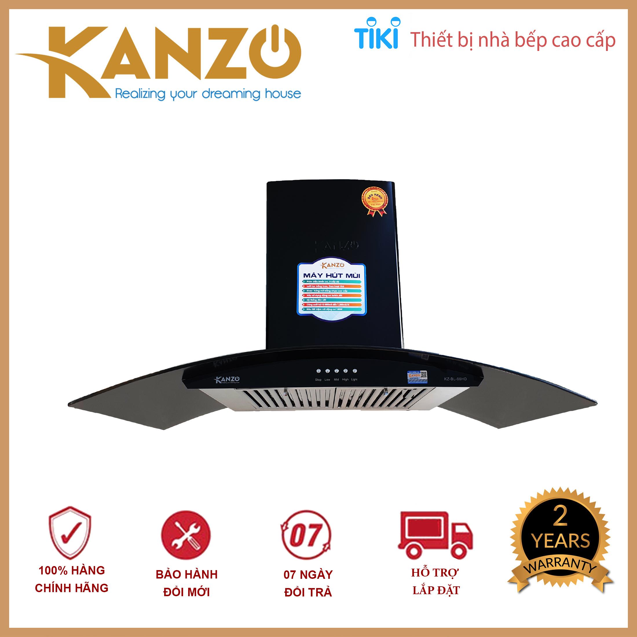 Hút mùi kính cong 900mm Kanzo KZ-BL-90HD - Bảo hành điện tử 2 năm - Hàng chính hãng
