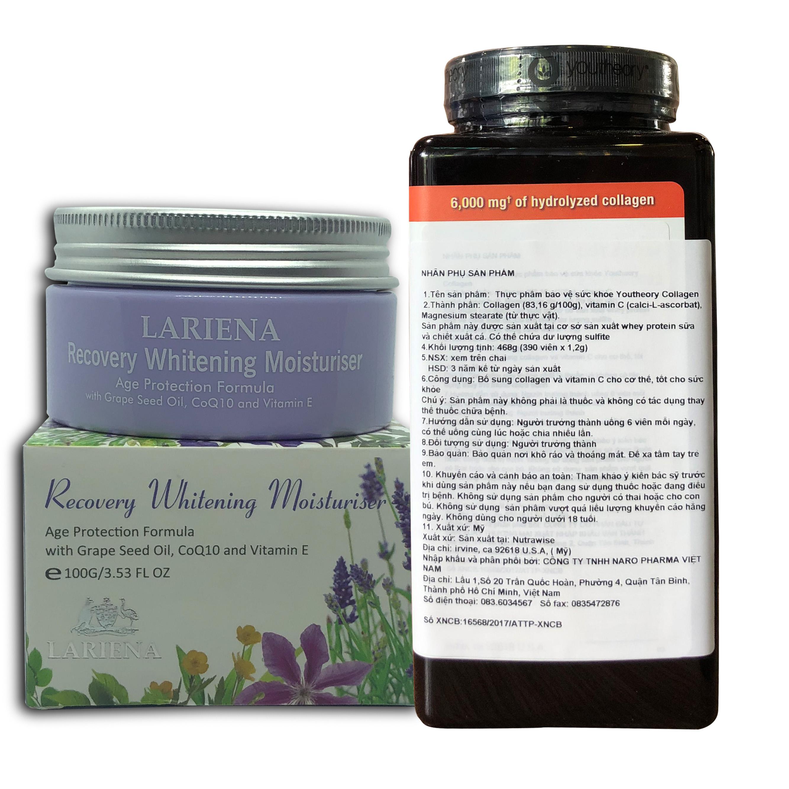 Thực phẩm Bảo Vệ Sức Khỏe Viên uống bổ sung Collagen Youtheory (Collagen Type 1-2-3) 390 Viên Tặng kèm hộp Kem Trắng da Lariena