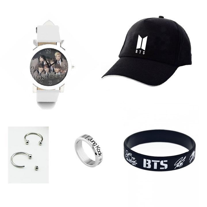 Combo 5 món đồ BTS gồm mũ đồng hồ đeo tay khuyên tai nhẫn titan vòng tay cao su