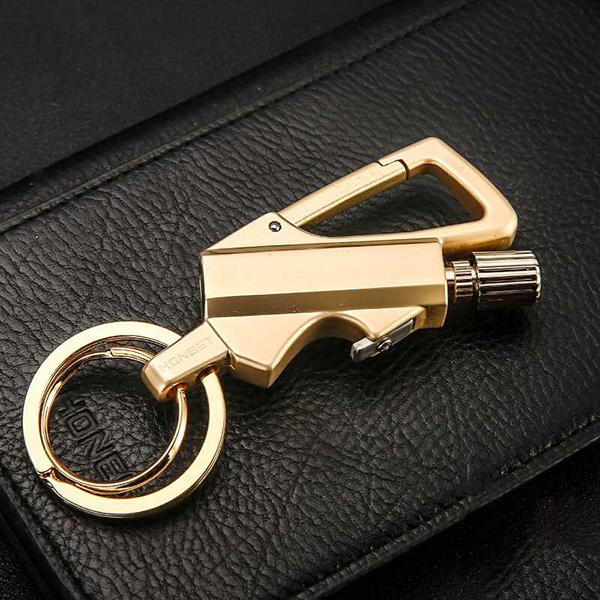 Bật lửa móc khóa diêm xăng Honest BCK2 (Màu Vàng Đồng)
