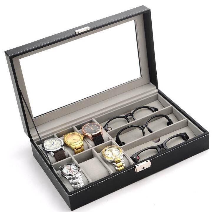 Hộp đựng đồng hồ, kính mắt cao cấp da  PU 2 trong 1 - Hộp đựng 6 đồng hồ đeo tay và 3 kính mắt