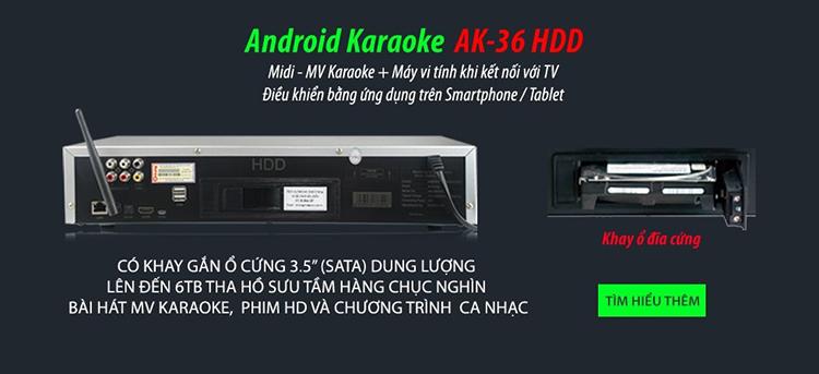 Đầu Android Karaoke Arirang AK-36HDD - Hàng Chính Hãng