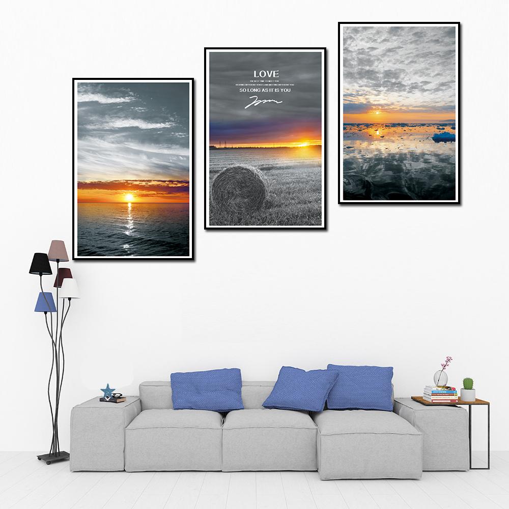 Tranh treo phòng khách, phòng ngủ - Bộ ba tranh phong cảnh hoàng hôn, vải canvas kim tuyến cao cấp, khung viền đen sang trọng - Xưởng tranh treo tường CC183