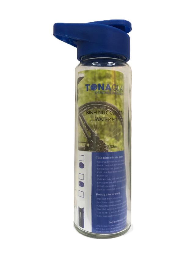 Bình nước thủy tinh Tonaglass dung tích 530ml nắp nhựa cao cấp.