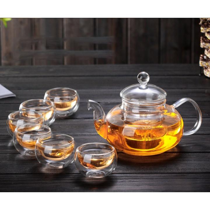 Bộ ấm trà thủy tinh 6 chén chịu nhiệt dung tích 600ml