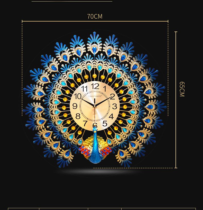 Đồng hồ treo tường chim công DNS113 (KT 70x65cm)