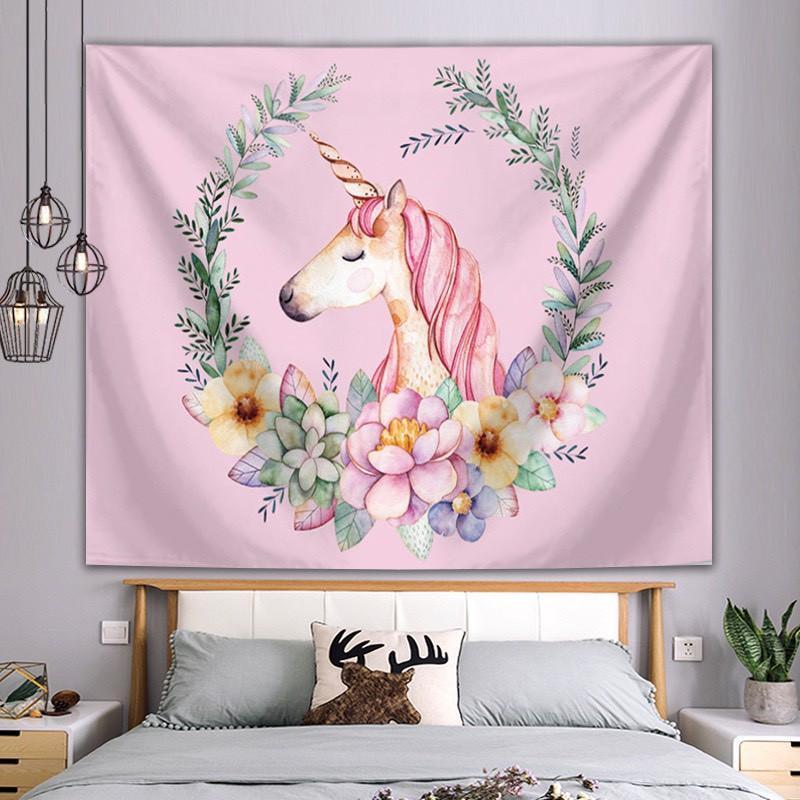 Thảm vải treo tường - Tranh trang trí tường hình ngựa hồng siêu đáng yêu