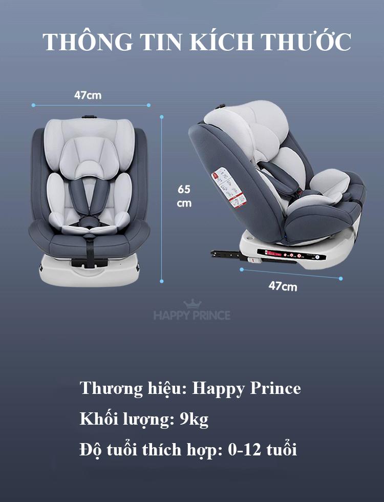 Ghế ô tô 2 chiều CHUẨN ISO 9001, điều chỉnh 4 tư thế từ nằm tới ngồi và có thể điều chỉnh độ cao 7 cấp cho bé từ 0-12 tuổi (xám) 13