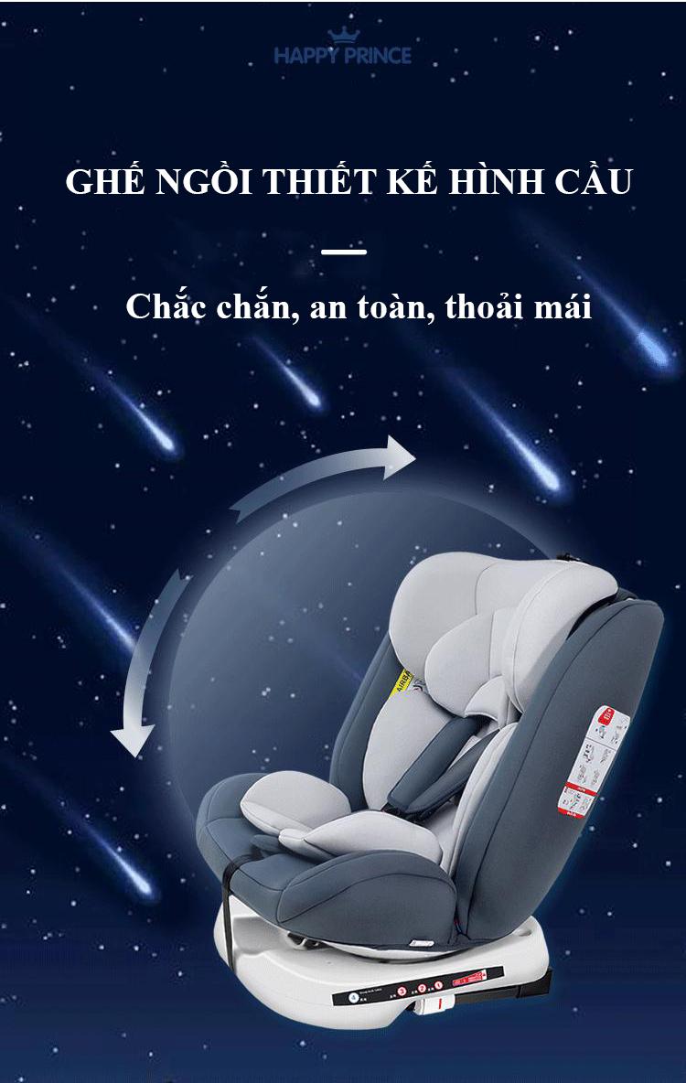 Ghế ô tô 2 chiều CHUẨN ISO 9001, điều chỉnh 4 tư thế từ nằm tới ngồi và có thể điều chỉnh độ cao 7 cấp cho bé từ 0-12 tuổi (xám) 9