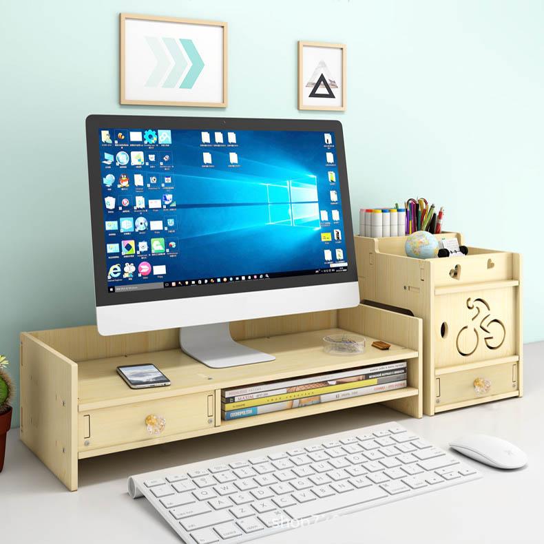 Kệ màn hình máy tính kệ laptop để bàn KMT2910 giúp giảm mỏi vai gáy cho dân văn phòng kệ sách kệ hồ sơ kèm cắm viết bằng gỗ 2 màu nâu sáng tùy chọn - Tặng kèm 1 móc khóa khung hình thời trang