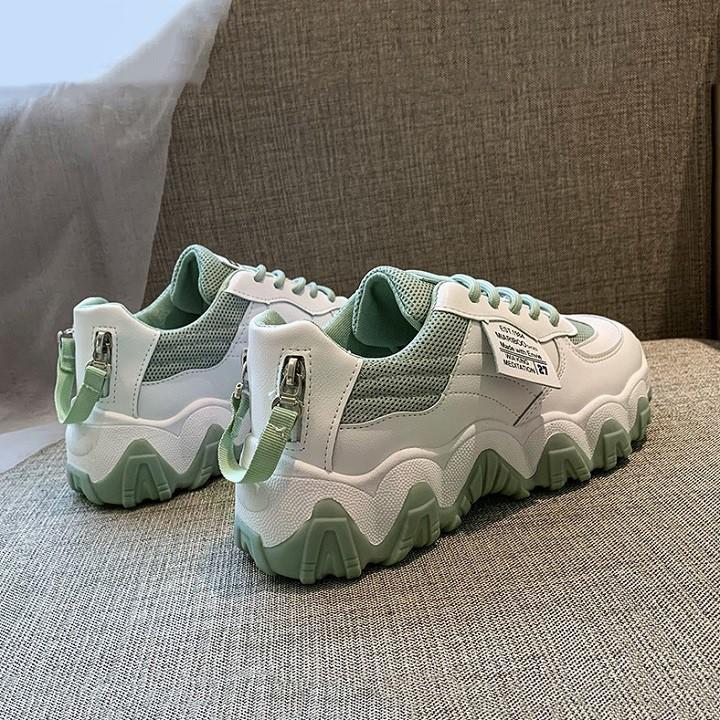 Giày thể thao nữ Miariboo 2 dây buộc kiểu đế cao lượn sóng mẫu mới 2020