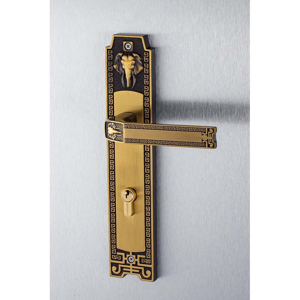 khóa tay nắm Huy Hoàng đồng rêu  8528