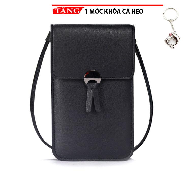Túi đeo chéo nữ đựng điện thoại 2 mặt có cảm ứng Shalla MN2 Tặng móc khóa cá heo