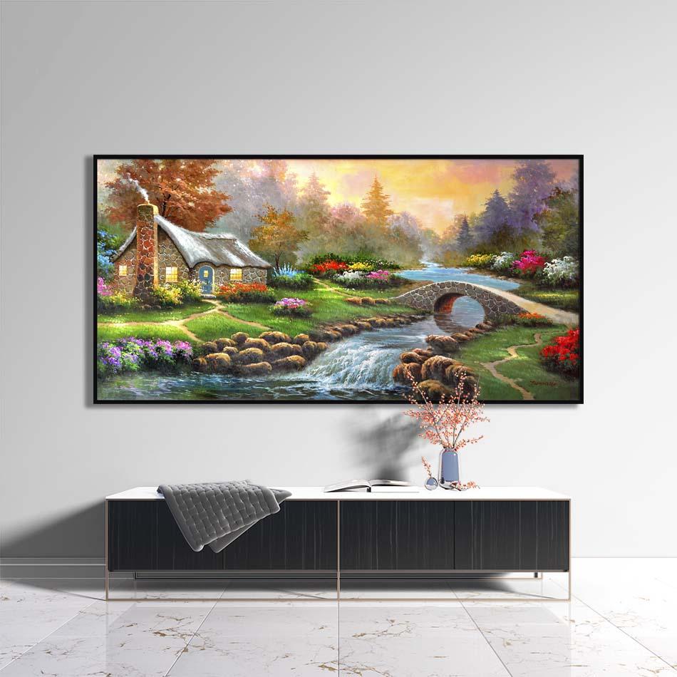 Tranh canvas phong cách sơn dầu - Phong cảnh Suối nhỏ - PC020