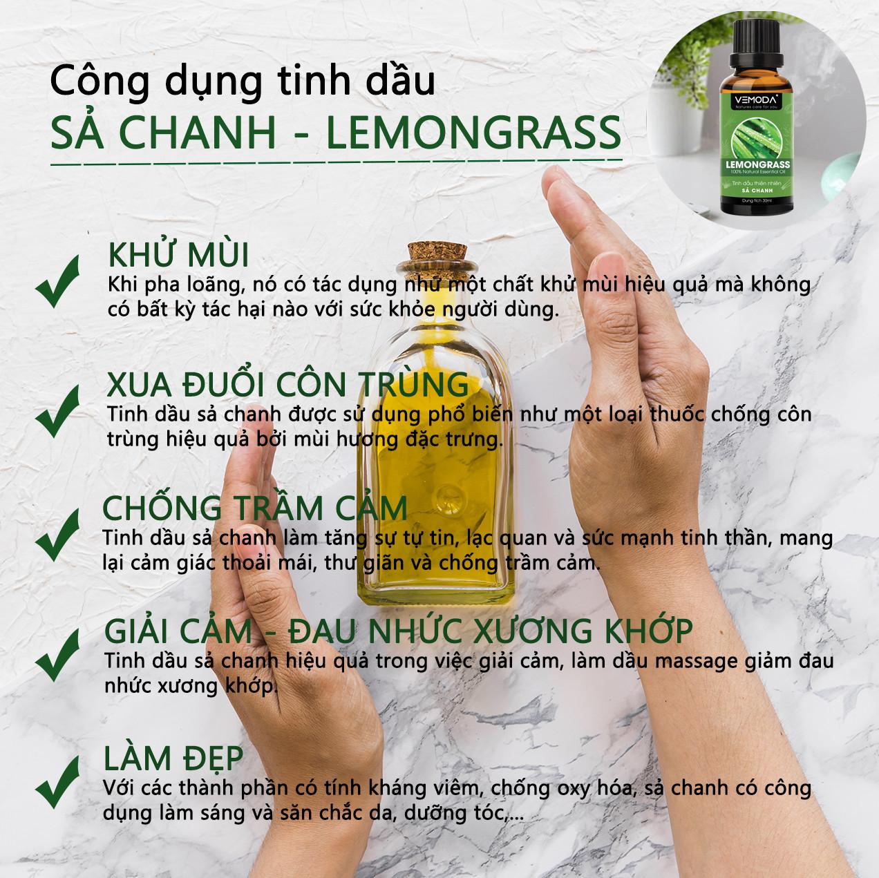 Tinh dầu xông phòng, thư giãn cao cấp gồm 3 chai tinh dầu nguyên chất: tinh dầu Vỏ quế (30ml) + tinh dầu Bạc hà (30ml) +  tinh dầu Sả chanh (30ml) Vemoda