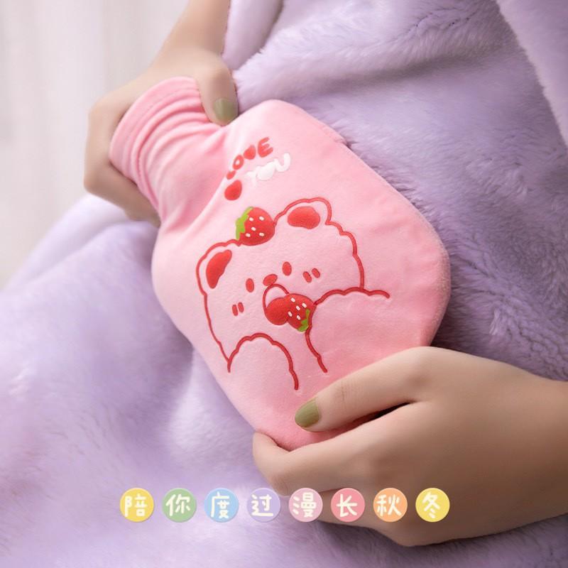 Túi chườm Bụng Kinh Chườm Nóng Lạnh Đa Năng Giảm Đau 350ml - Lớp Vải Nhung Mịn Mềm Êm Ái.