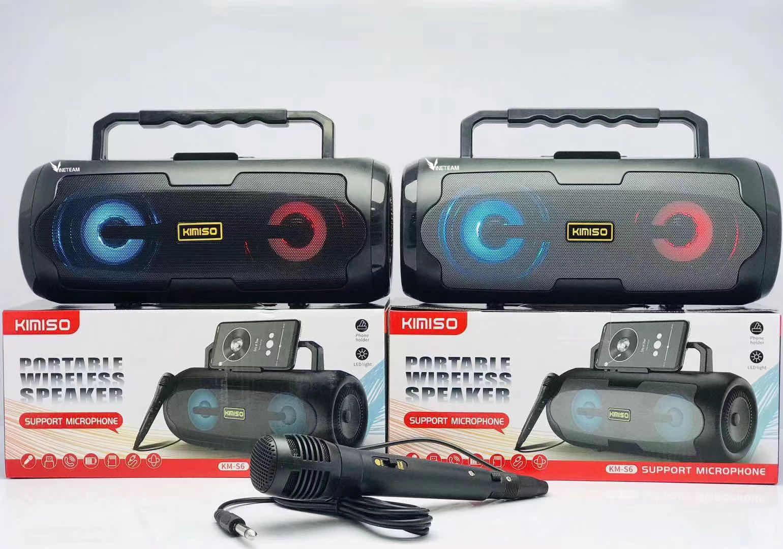 Loa Karaoke Bluetooth Xách Tay KIMISO KM-S6 (Đen) Mic Hát Có Dây Cắm Trực Tiếp, Bass Không Dây, Đèn Led Sống Động-4083- Hàng Nhập Khẩu( màu ngẫu nhiên)