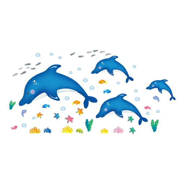 Decal Dán Tường Họa Tiết Đàn Cá Heo Xanh EB63 (80 x 120 cm)