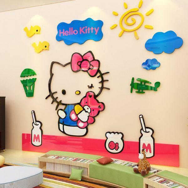Tranh dán tường cho bé 3d, tranh mica 3D - kitty khung ảnh, trang trí mầm non, trang trí khu vui chơi trẻ em