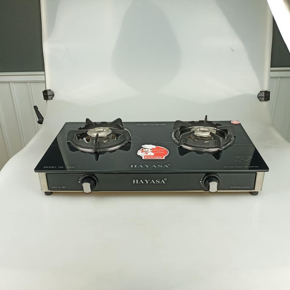 Bếp ga đôi kiếng cường lực Hayasa HA8800A, đầu đốt inox 304, kiềng gang, màu sang trọng sạch sẽ-hàng chính hãng