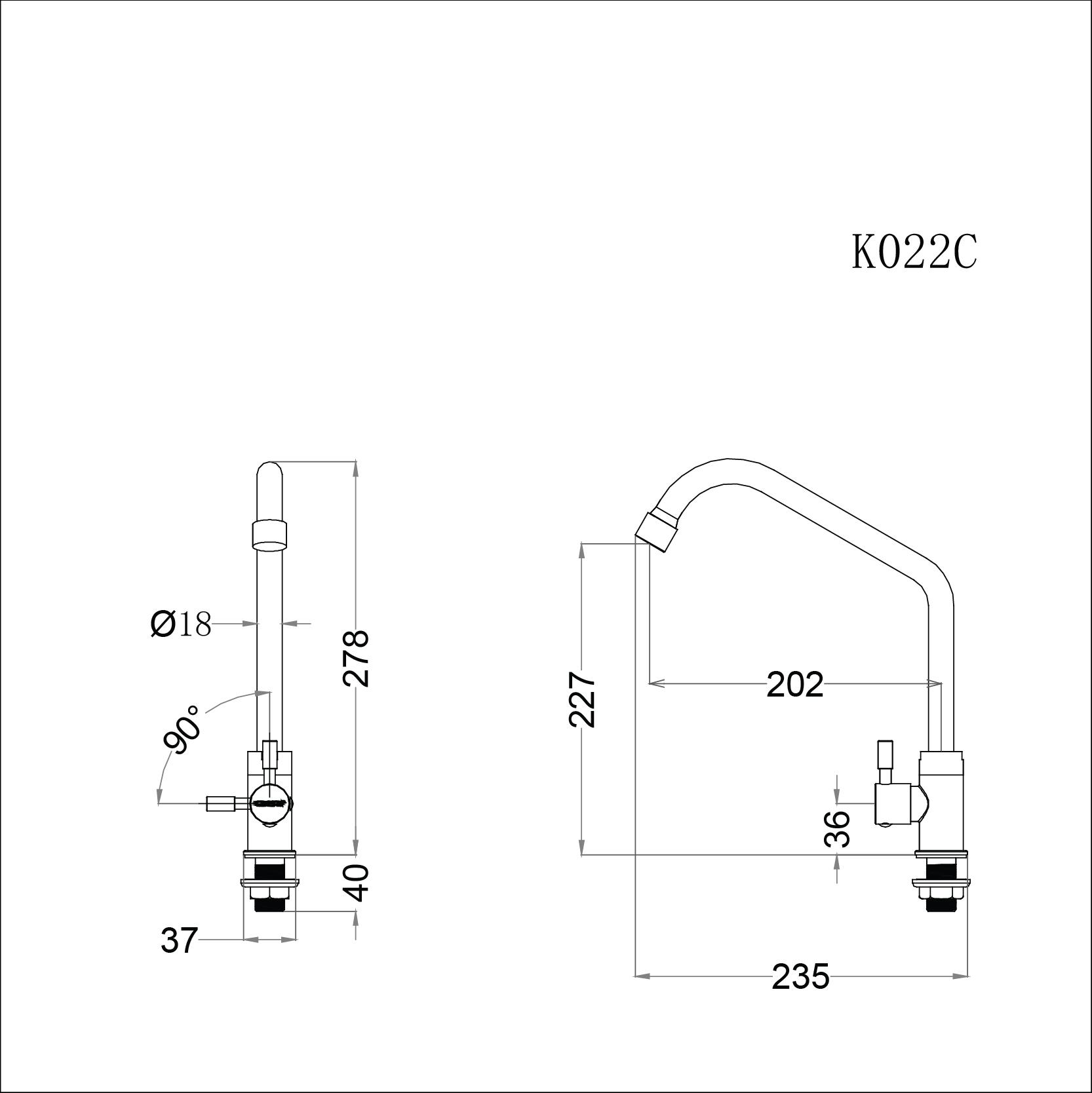 Vòi bếp lạnh cao cổ gắn chậu  Caesar K022C (chưa bao gồm dây cấp)