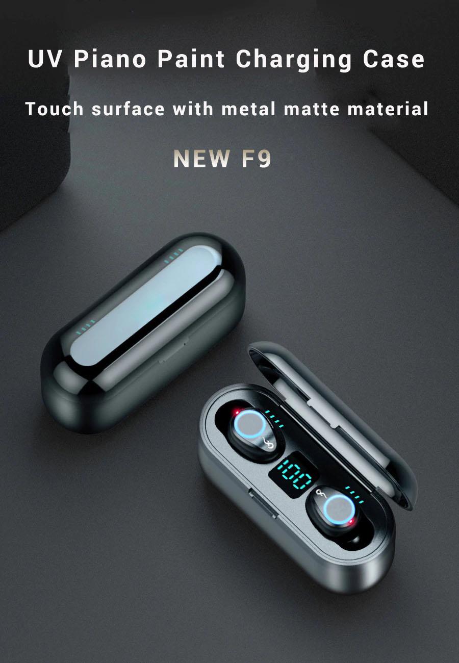Tai nghe bluetooth cảm ứng vân tay f9 V-4  LED  ( hàng nhập khẩu )