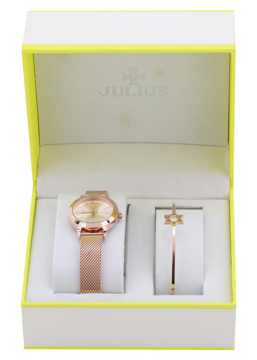 Combo Đồng hồ Nữ Julius Và Lắc Tay Màu Vàng Hồng BC-05