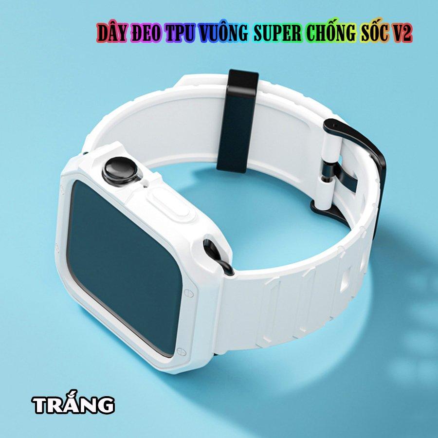 Dây Đeo khung ốp rời dành cho Apple Watch size 38/40/42/44mm TPU vuông SUPER chống sốc V2 - Trắng (tặng dán KCL theo size)