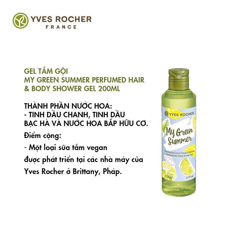 Gel tắm gội My Green Summer Perfumed Hair & Body Shower Gel (200ml)