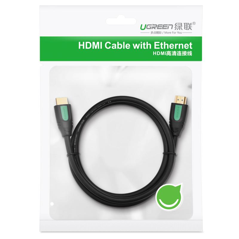 Dây cáp HDMI 2.0 thuần đồng 100%, 19+1 (1.5m) dùng cho Tivi, máy tính, máy chiếu, màn hình UGREEN HD101 40461 - Hàng chính hãng