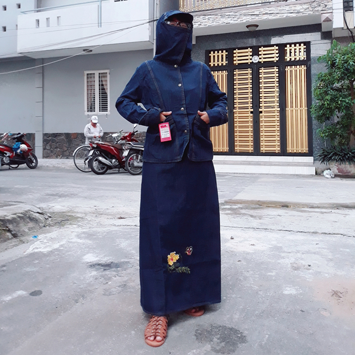 Bộ Đồ Chống Nắng Jean Nữ Áo Khoác Và Váy Thêu Bươm Bướm