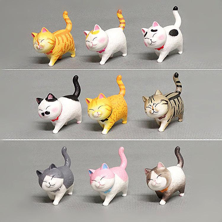 Mèo mô hình trang trí táp lô xe hơi, tiểu cảnh, bàn học, bàn làm việc siêu cute (bộ 9 con) - Mẫu 2