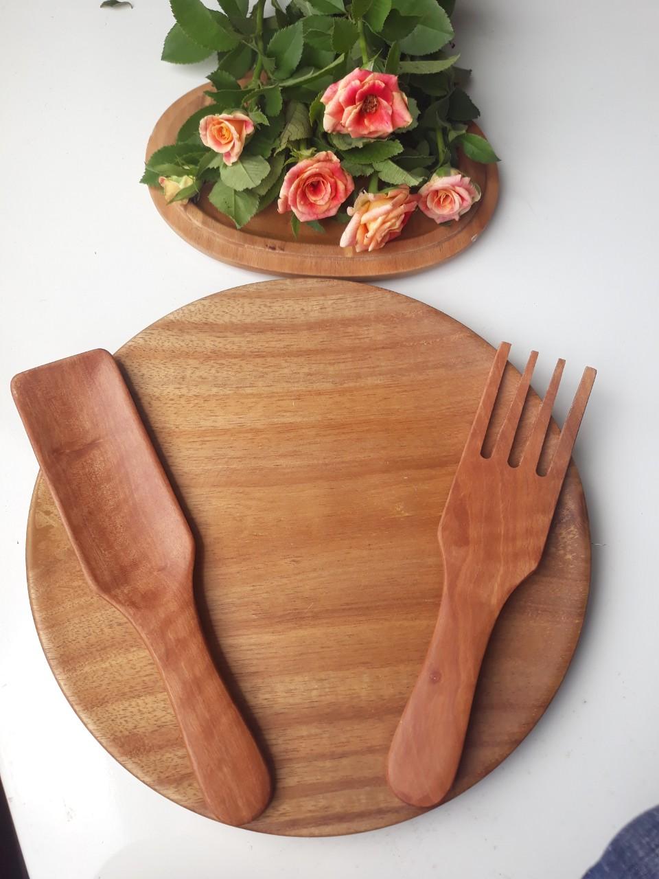 Bộ thìa salad gỗ nhãn siêu đẹp 2 chiếc (thìa + nĩa) 20 x 5 cm (SLN-01)