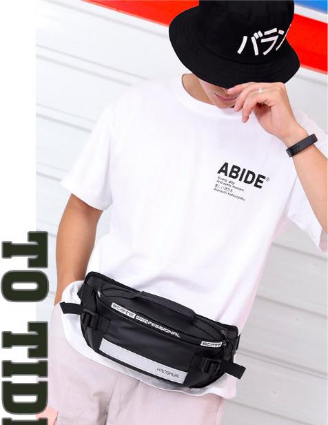 Túi đeo chéo ,túi bao tử nam thời trang phản quang, chống thấm nước 2020 ( ĐEN)