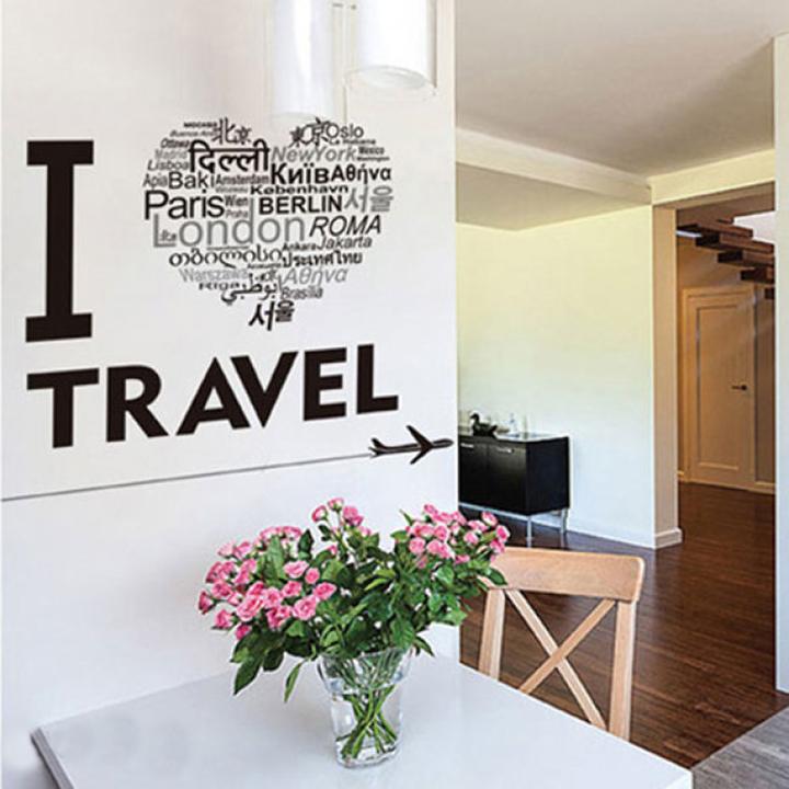 Decal dán tường nghệ thuật i love travel