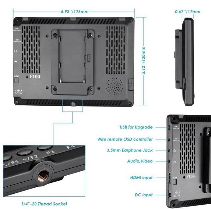 Màn hình Neewer F100 7inch HD 1280X800 hàng chính hãng.