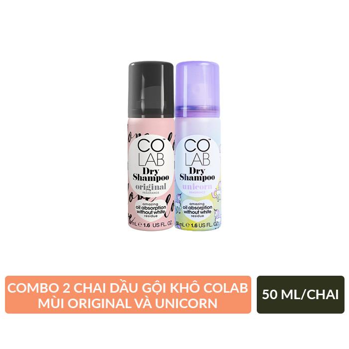 Combo 2 Chai Dầu Gội Khô Colab mùi Original + Unicorn 50ml/chai