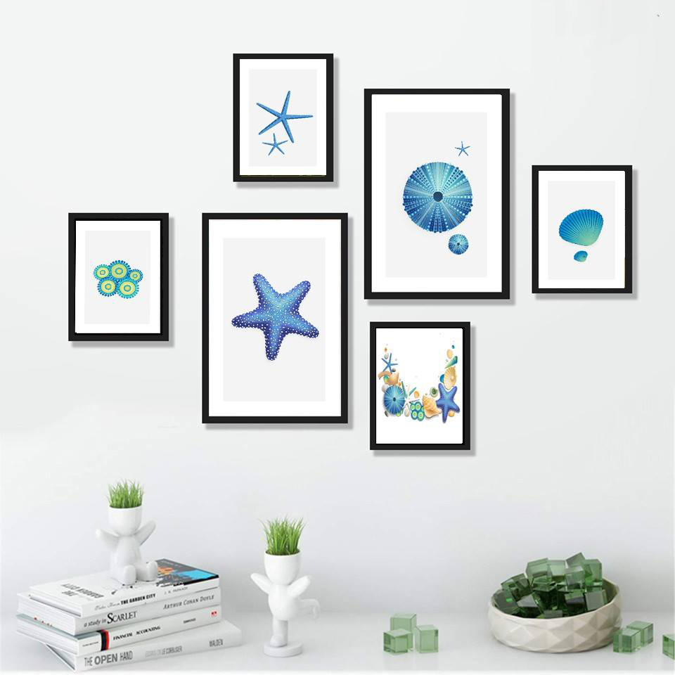 Bộ 06 tranh treo tường Ốc biển Seashell trang trí phòng khách, phòng ngủ - Tặng kèm đinh ba chân chuyên dụng treo tranh