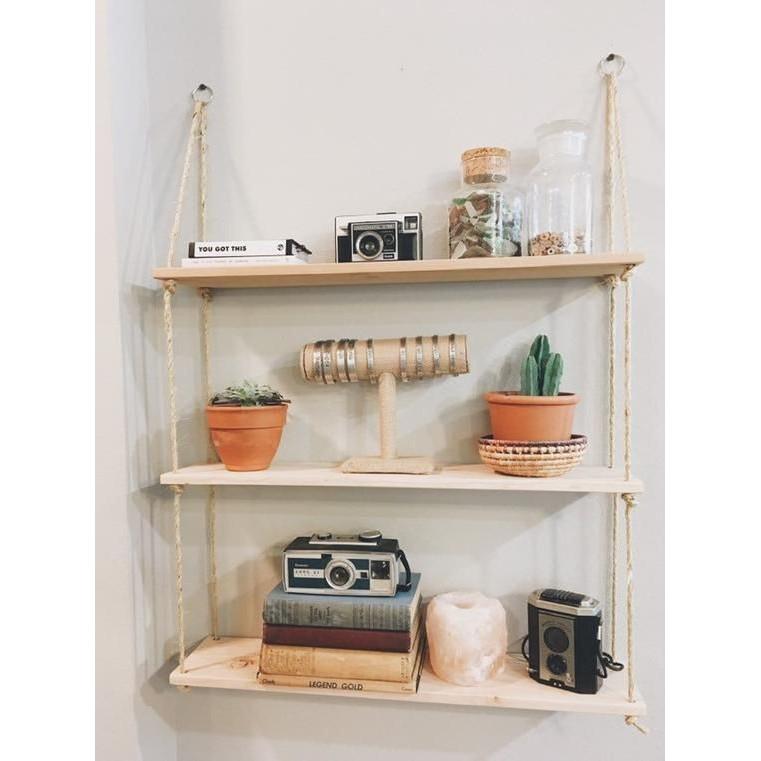 Kệ gỗ trang trí dây treo tường 3 tầng mặt kệ 60*15*1.8cm