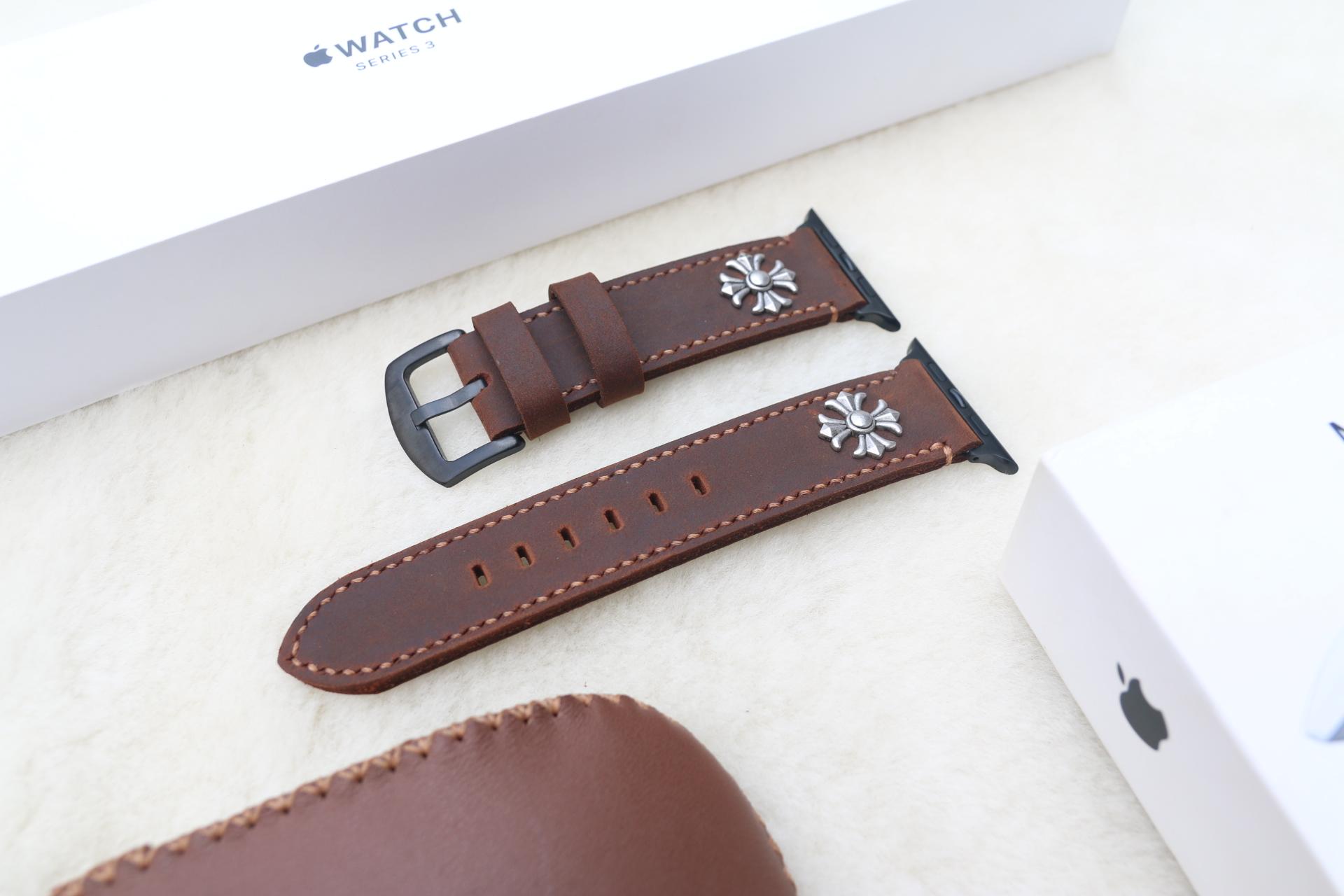 Dây Da Bò Sáp Thay Thế Dành Cho Apple Watch - Handmade