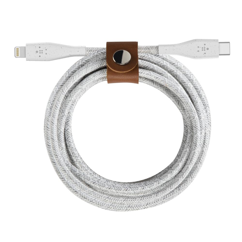 Cáp sạc USB Type C to Lightning Belkin Duratek Plus + strap da, chứng chỉ MFi vĩnh viễn, 1.2m, sạc nhanh PD, cáp cao cấp siêu bền - Hàng chính hãng