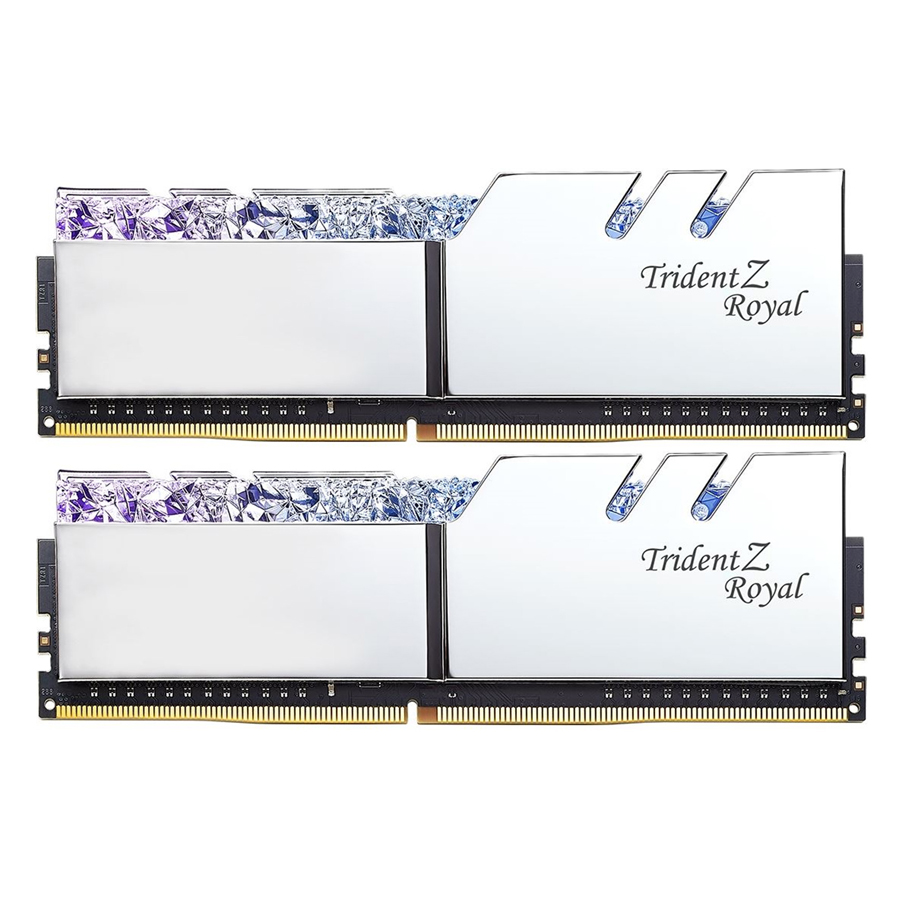 Bộ 2 Thanh RAM PC G.Skill 16GB (8GBx2) Trident Z Royal DDR4 F4-3600C18D-16GTRS Silver - Hàng Chính Hãng