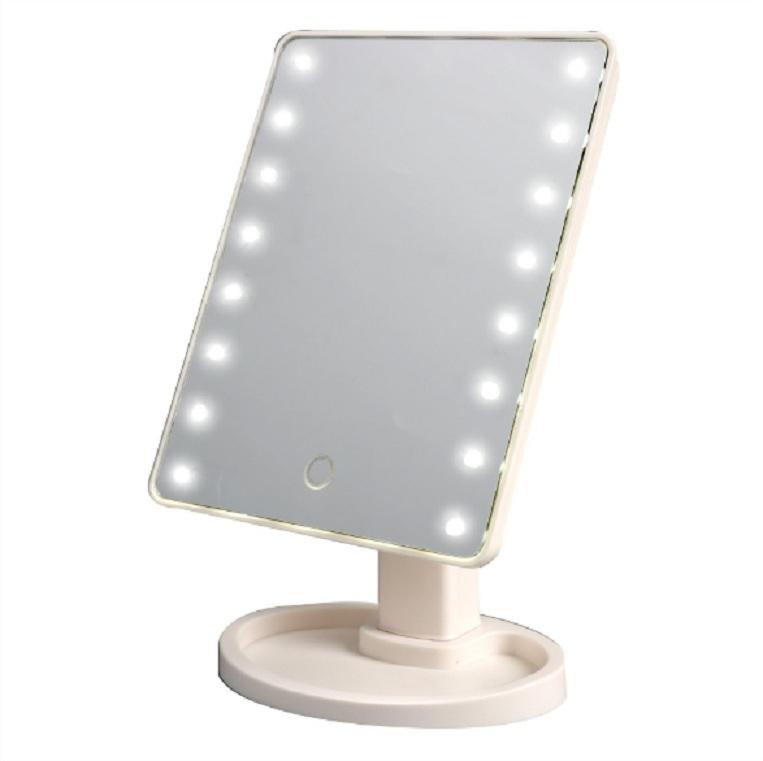 Gương đèn Led trang điểm 22 bóng - Đen ( tặng móc khóa gỗ )