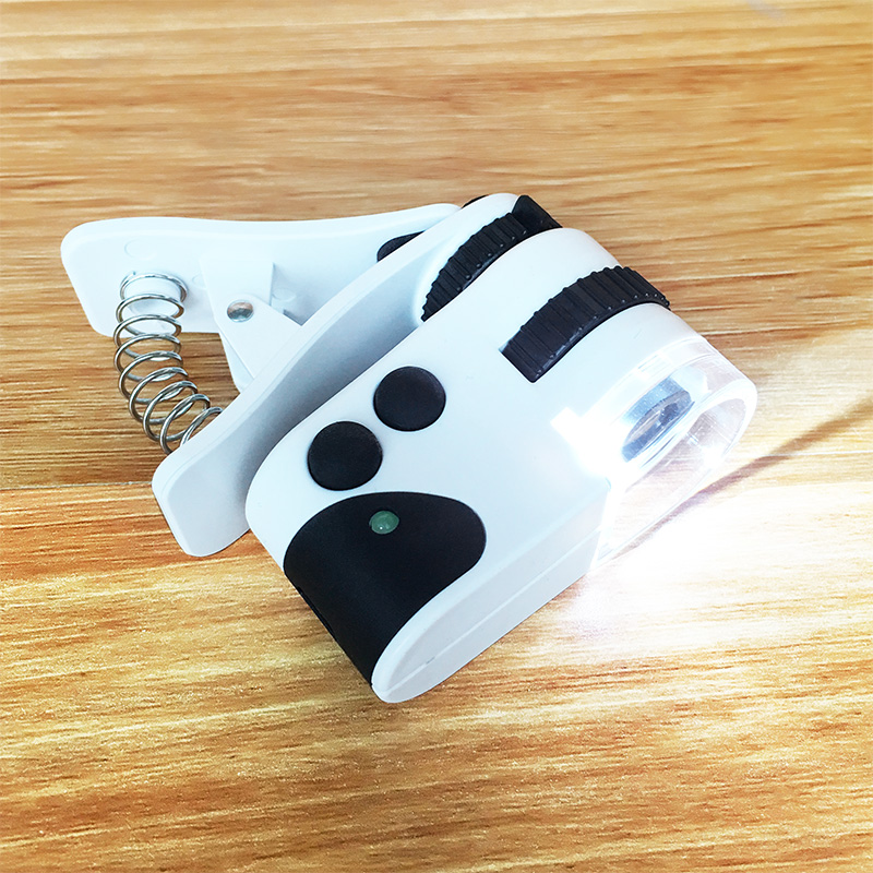 Kính lúp phóng đại 50 lần tích hợp kẹp điện thoại quan sát mẫu vật (Cổng sạc USB)- (Tặng quạt nhựa mini cắm cổng USB-màu ngẫu nhiên)