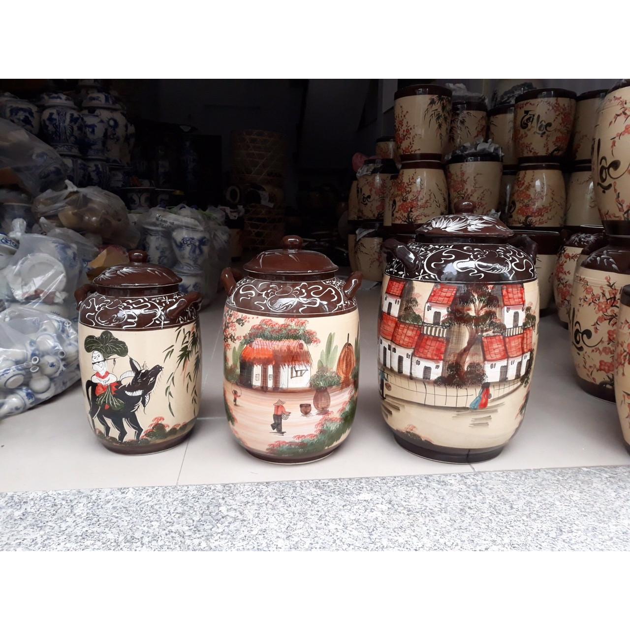 Hũ đựng rượu gạo vẽ phong cảnh bát Tràng 30L ( 25Kg gạo)