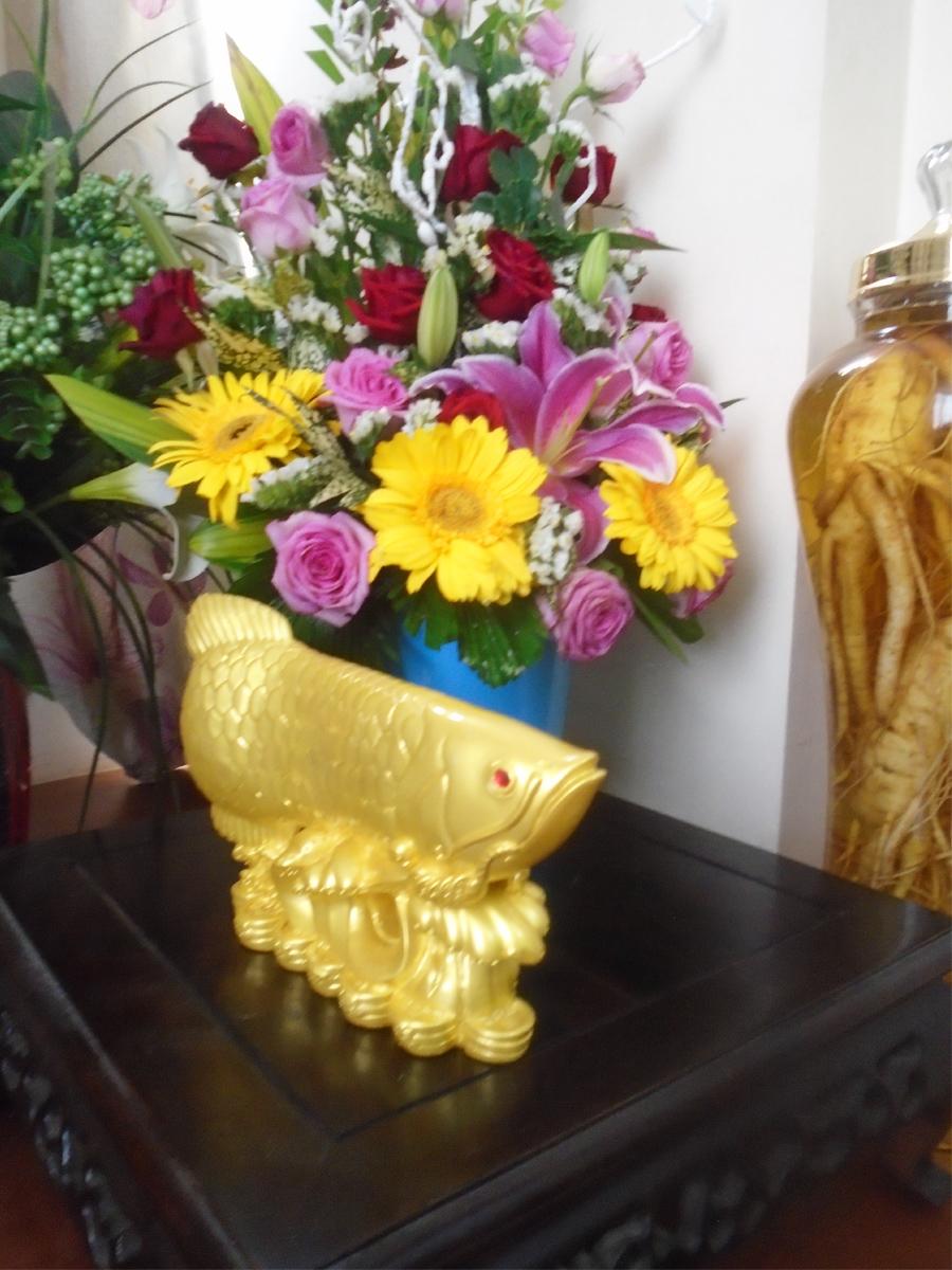 Cá Rồng ngậm tiền - Kim Long Đắc Lộc - đá poly vàng - CKLV27
